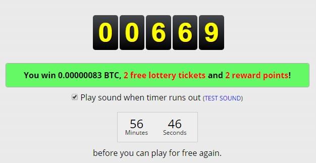 Вы получите сатоши, 2 лотерейных билета и 2 балла